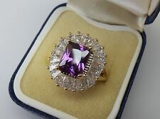 18ct Gold Plated Emerald Cut Purple CZ Cluster Ring size L - Q.