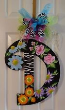 Handpainted Jumbo Large Wood Letter Initial Door Hanger Wreath Wall Art