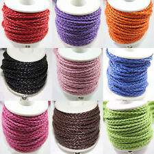 3mm 3M Pure Hand-Woven Braided Leather Cord Make Necklace Or Bracelet Wholesale