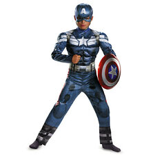 Marvel Captain America Movie 2 Deluxe Muscle Boys Costume Winter Soldier