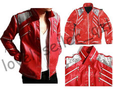 Michael Jackson Beat it Red Zipper Leather Jacket Costume Coat Free Billie Glove