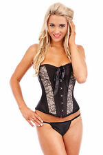 Burlesque Corset Bustier Boned Dress Lace Up Costume Showgirl Moulin Rouge Black