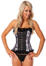 Burlesque Moulin Rouge Boned Corset Bustier G String Costume Fancy Dress Up