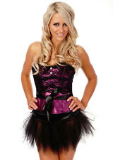 Burlesque Satin & Lace Corset Bustier & G String Costume Fancy Dress Up Black