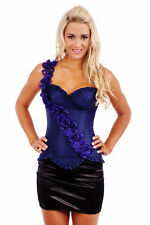 Burlesque Moulin Rouge Boned Corset Bustier Costume Fancy Dress Up Blue Satin