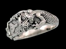 Dragon and Snake Rune Signet Ring Sterling Silver