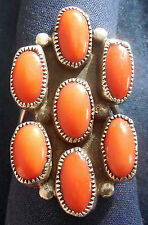 NATIVE AMERICAN, STERLING SILVER, 7 CORAL CABS, VINTAGE RING #10.0