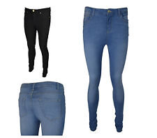NEW LADIES WOMENS SKINNY STRETCHY JEANS CHINO TROUSER BLACK SIZE 8-18