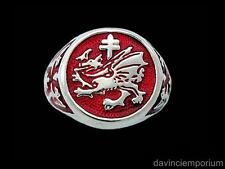 Order of the Dragon Signet Ring Sterling Silver with Enamel Vlad Dracula