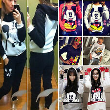 Women Ladies Hoodie Sweatshirt Jumper Top Cartoon Mickey Minnie Hooded Tracksuit