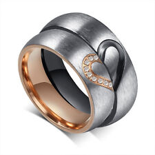 Sweet Heart-shaped Titanium Steel Promise Ring Couple Wedding Bands Love Gift