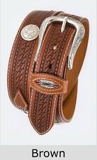 Men's Basket Weave Leather Belt Heavy Duty Native Western Concho Gun Mens Casual
