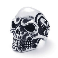Super Cool Heavy Duty Stainless Steel Three Sides Skull Biker Ring Size 7-14