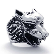 Super Cool Stainless Steel Wolf Head Ring Size 6-15