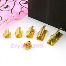 Gold Plated End Cord Crimps Beads Caps 6mm,8mm,10mm,13mm,16mm,20mm R0041