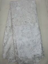 ALL WHITE GORGEOUS TULLE EMBROIDERED FLORAL BRIDAL MESH LACE FABRIC 5YDS LOT