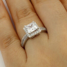 2.0 Ct 14K Real White Gold Princess Cut Halo Side Stones Engagement Wedding Ring