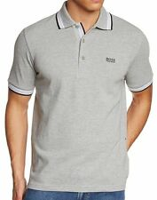 HUGO BOSS MEN'S BY BOSS GREEN SPORT POLO CASUAL SHIRT T-SHIRT LIGHT GRAY