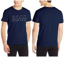 BOSS BY HUGO BOSS MEN'S GRAPHIC SPF SHORT SLEEVE CREW NECK LOGO T-SHIRT NAVY