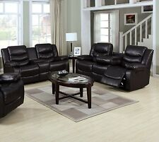 New 2pc Motion Sofa Set Espresso Bonded Leather Sofa Couch & Loveseat Console
