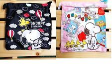 Peanuts Snoopy Small Flannel Drawstring Bag Black/ White for ONE