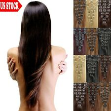 "BEST Selling Real Long 20"" 22"" Clip In Remy Human Hair Extensions Full Head C460"