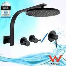 WELS Brass Round Shower Head Gooseneck Wall Arm Bath Mixer Tap Set Matt Black