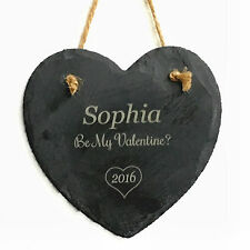 Engraved Hanging Slate Heart Shape Valentines Day Love Decoration Personalised