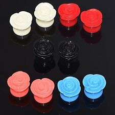 Pair Acrylic Ear Tunnel Plugs Detailed Rose Candy Colors Flower Piercing Jewelry
