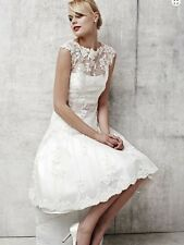 Bridal Knee Length Short Applique Wedding Dress Bridal Gown Custom or Petticoat