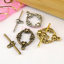 12Sets Tibetan Silver,Antiqued Gold,Bronze Circle Connector Toggle Clasps M1389