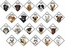 On Board Dog Breed Plastic Signs