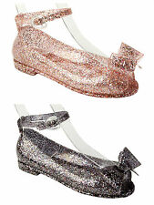 GIRLS PRETTY GLITTER JELLY SUMMER BEACH HOLIDAY LOW HEEL SANDALS SHOES KIDS SIZE