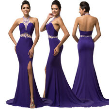 Sexy Halter Beaded Mermaid Prom Dress Long Purple Evening Party Bridesmaid Dress