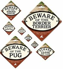 Dog / Text Oval Advisory Cast Iron Signs