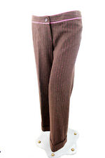 Lilly Pulitzer Woman Brown Wool Melange with Pink Pin stripe Ladies Trousers 6