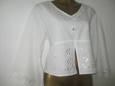 NEW BOHO WHITE COTTON BELL SLEEVE TOP, EMBELLISHED DETAILING, IN SIZES 8-12