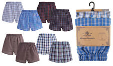 Mens Boxers Button Fly Woven Check Stripe Boxer Shorts Underwear Trunks 2 Pack