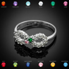 Sterling Silver Infinity Dual Birthstone CZ Ring Size 8