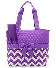 Personalized Chevron Print Quilted Diaper Bag 3 pieces set Monogrammed