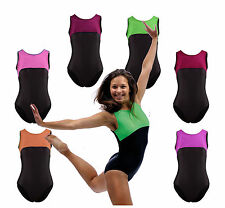 Gym Gymnastics Leotard Dance Lycra Velvet Pink Orange Black Green UK Made
