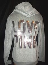 Victorias Secret Pink Graphic Soft Velour Bling LOVE PINK Sequins Hoodie NWT M
