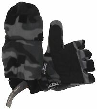 Gray Camo Athletech Convertible Gloves Mittens 3M Thinsulate Mens Fleece Winter