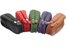Leather SOFT Spectacle Case#For 2 specs#Zip Closures#BELT Loop-Fits Mobile PHONE