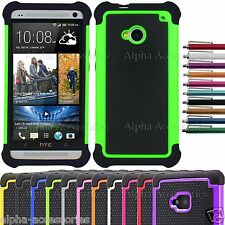 Shock Proof Dual Layer Silicone & Hard Defender Case Cover Skin For HTC ONE M7