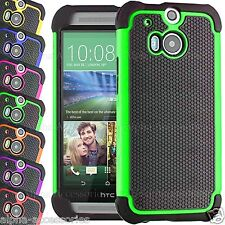 Shock Proof Dual Layer Silicone & Hard Defender Case Cover Skin For HTC ONE M8