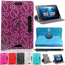 "UNIVERSAL 360° Diamond/Bling LEATHER STAND CASE COVER FOR All 7"" Tablets Android"