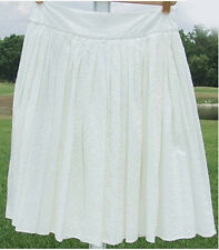 LIZ CLAIBORNE SOLID WHITE BROWN CASUAL TEXTURED COTTON FULL SKIRT KNEE 8 14 NEW