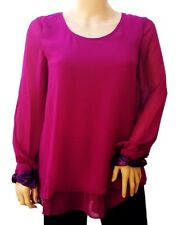 New Ladies Fuchsia Smart Semi Sheer Layered Tunic Chiffon Pink Blouse UK 10-14