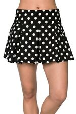 Ladies Polka Dot Black White Pleated Mini Skirt